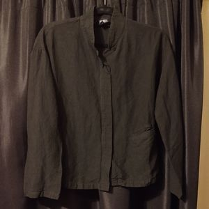 Eileen Fisher Crinkle Linen Blend Button Up Blouse